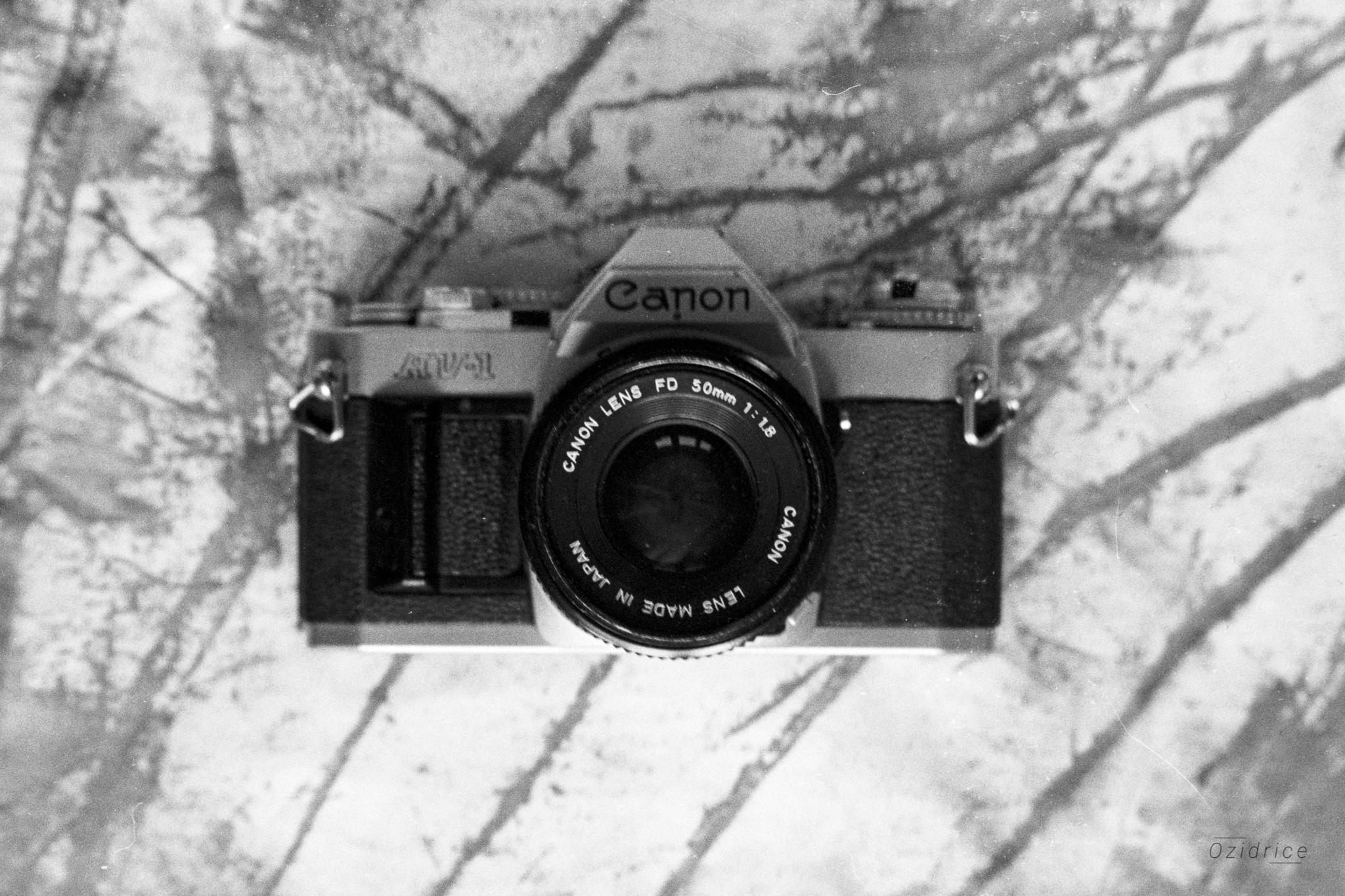 Image noire et blanche d'un appareil photo argentique de marque Canon