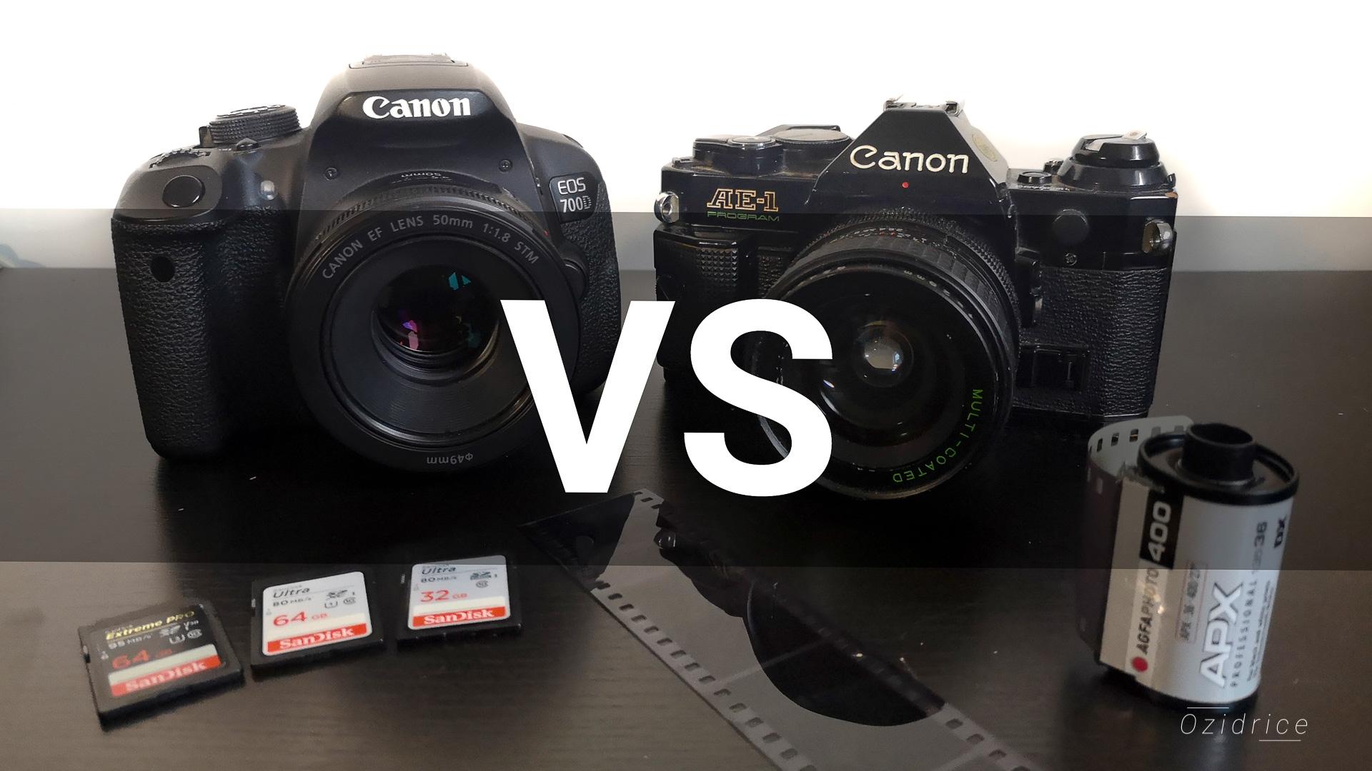 Photographie d'un appareil photo numérique à côté d'un appareil photo argentique
