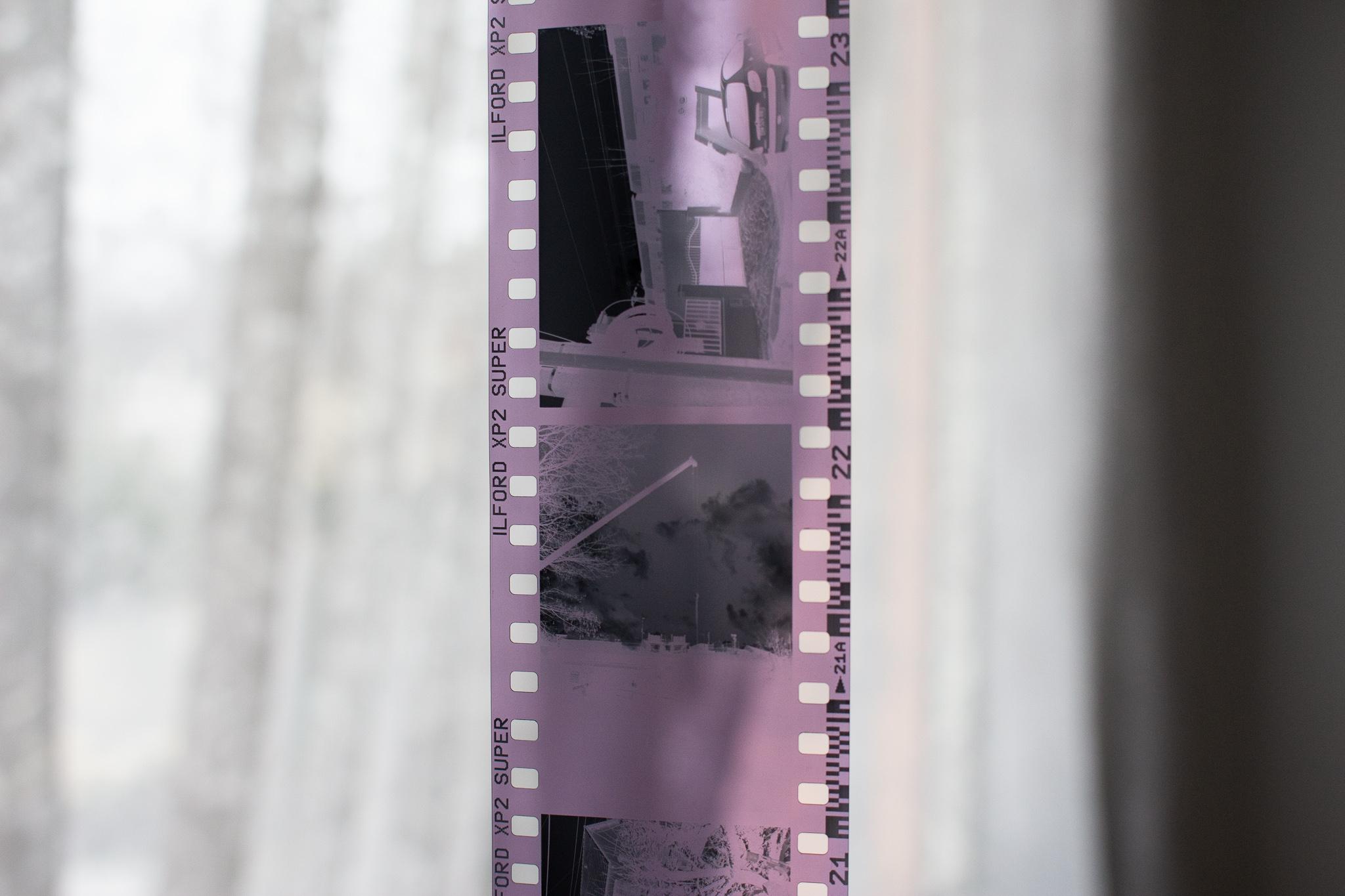 Négatif d'une Ilford XP2 Super développée en noir et blanc